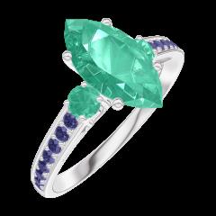 Bague Create 169596 Or blanc 9 carats - Émeraude Marquise 1 carat - Pierres de côté Émeraude - Sertissage Saphir bleu