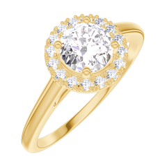 Bague Create 170001 Or jaune 18 carats - Diamant Rond 0.5 carat - Halo Diamant