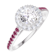 Bague Create 170011 Or blanc 18 carats - Diamant Rond 0.5 carat - Halo Diamant - Sertissage Rubis