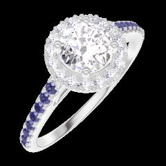 Bague Create 170015 Or blanc 18 carats - Diamant Rond 0.5 carat - Halo Diamant - Sertissage Saphir bleu