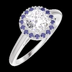 Bague Create 170035 Or blanc 18 carats - Diamant Rond 0.5 carat - Halo Saphir bleu