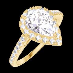 Bague Create 170197 Or jaune 18 carats - Diamant Poire 0.5 carat - Halo Diamant - Sertissage Diamant