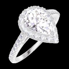 Bague Create 170199 Or blanc 18 carats - Diamant Poire 0.5 carat - Halo Diamant - Sertissage Diamant
