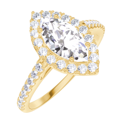 Bague Create 170245 Or jaune 18 carats - Diamant Marquise 0.5 carat - Halo Diamant - Sertissage Diamant
