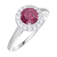 Bague Create 170291 Or blanc 18 carats - Rubis Rond 0.5 carat - Halo Diamant