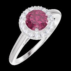 Bague Create 170292 Or blanc 9 carats - Rubis Rond 0.5 carat - Halo Diamant