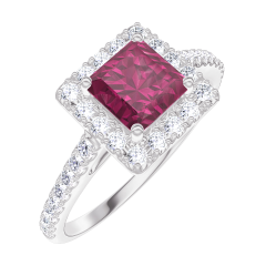 Bague Create 170344 Or blanc 9 carats - Rubis Princesse 0.5 carat - Halo Diamant - Sertissage Diamant