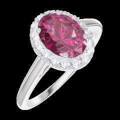 Bague Create 170435 Or blanc 18 carats - Rubis Ovale 0.5 carat - Halo Diamant