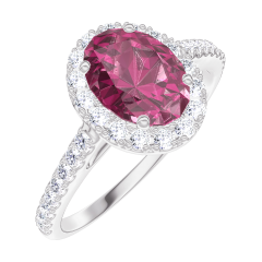 Bague Create 170440 Or blanc 9 carats - Rubis Ovale 0.5 carat - Halo Diamant - Sertissage Diamant