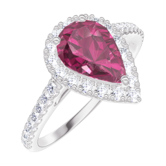 Bague Create 170488 Or blanc 9 carats - Rubis Poire 0.5 carat - Halo Diamant - Sertissage Diamant
