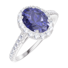 Bague Create 170728 Or blanc 9 carats - Saphir bleu Ovale 0.5 carat - Halo Diamant - Sertissage Diamant