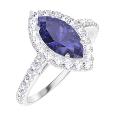 Bague Create 170824 Or blanc 9 carats - Saphir bleu Marquise 0.5 carat - Halo Diamant - Sertissage Diamant