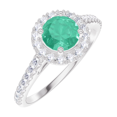 Bague Create 170872 Or blanc 9 carats - Émeraude Rond 0.5 carat - Halo Diamant - Sertissage Diamant