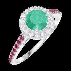 Bague Create 170876 Or blanc 9 carats - Émeraude Rond 0.5 carat - Halo Diamant - Sertissage Rubis