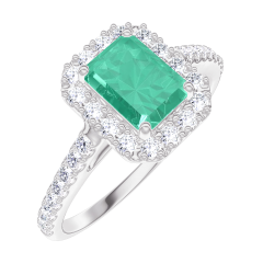 Bague Create 170968 Or blanc 9 carats - Émeraude Rectangle 0.5 carat - Halo Diamant - Sertissage Diamant