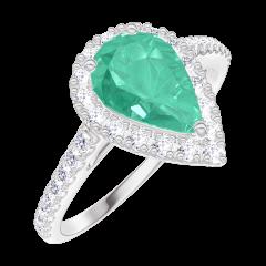 Bague Create 171064 Or blanc 9 carats - Émeraude Poire 0.5 carat - Halo Diamant - Sertissage Diamant