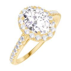 Bague Create 190150 Or jaune 9 carats - Diamant de laboratoire Ovale 0.5 carat - Halo Diamant - Sertissage Diamant