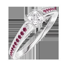 Bague Create 209611 Or blanc 18 carats - Cluster de diamants naturels Rond équivalent 0.5 - Sertissage Rubis