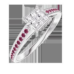 Bague Create 209711 Or blanc 18 carats - Cluster de diamants naturels Princesse équivalent 0.5 - Sertissage Rubis