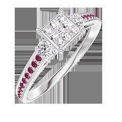 Bague Create 209731 Or blanc 18 carats - Cluster de diamants naturels Princesse équivalent 0.5 - Pierres de côté Diamant - Sertissage Rubis