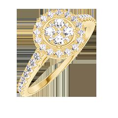 Bague Create 211405 Or jaune 18 carats - Cluster de diamants naturels Rond équivalent 0.5 - Halo Diamant - Sertissage Diamant