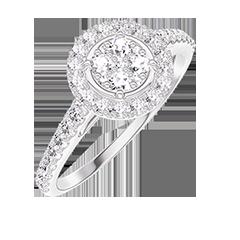 Bague Create 211407 Or blanc 18 carats - Cluster de diamants naturels Rond équivalent 0.5 - Halo Diamant - Sertissage Diamant