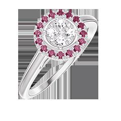Bague Create 211419 Or blanc 18 carats - Cluster de diamants naturels Rond équivalent 0.5 - Halo Rubis