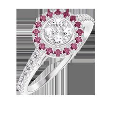 Bague Create 211423 Or blanc 18 carats - Cluster de diamants naturels Rond équivalent 0.5 - Halo Rubis - Sertissage Diamant