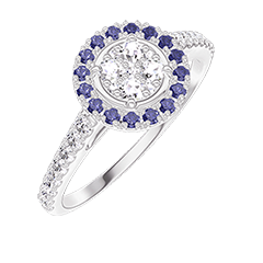 Bague Create 211439 Or blanc 18 carats - Cluster de diamants naturels Rond équivalent 0.5 - Halo Saphir bleu - Sertissage Diamant