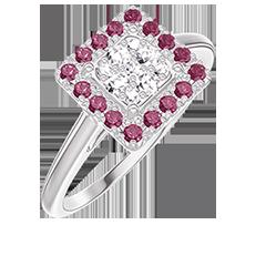 Bague Create 211467 Or blanc 18 carats - Cluster de diamants naturels Princesse équivalent 0.5 - Halo Rubis