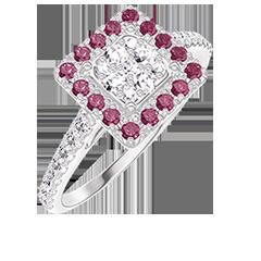 Bague Create 211471 Or blanc 18 carats - Cluster de diamants naturels Princesse équivalent 0.5 - Halo Rubis - Sertissage Diamant