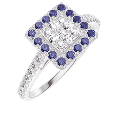 Bague Create 211487 Or blanc 18 carats - Cluster de diamants naturels Princesse équivalent 0.5 - Halo Saphir bleu - Sertissage Diamant