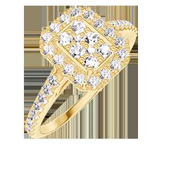 Bague Create 211501 Or jaune 18 carats - Cluster de diamants naturels Rectangle équivalent 0.5 - Halo Diamant - Sertissage Diamant