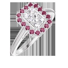 Bague Create 211515 Or blanc 18 carats - Cluster de diamants naturels Rectangle équivalent 0.5 - Halo Rubis