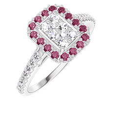 Bague Create 211519 Or blanc 18 carats - Cluster de diamants naturels Rectangle équivalent 0.5 - Halo Rubis - Sertissage Diamant