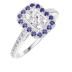 Bague Create 211535 Or blanc 18 carats - Cluster de diamants naturels Rectangle équivalent 0.5 - Halo Saphir bleu - Sertissage Diamant
