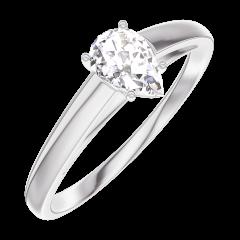 Bague Create Engagement 160403 Or blanc 18 carats - Diamant Poire 0.3 carat