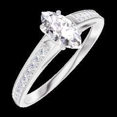 Bague Create Engagement 160507 Or blanc 18 carats - Diamant Marquise 0.3 carat - Sertissage Diamant