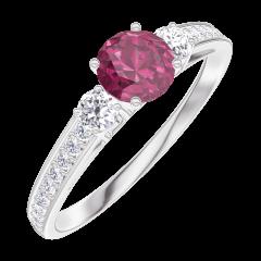 Bague Create Engagement 160628 Or blanc 9 carats - Rubis Rond 0.3 carat - Pierres de côté Diamant - Sertissage Diamant
