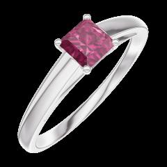 Bague Create Engagement 160704 Or blanc 9 carats - Rubis Princesse 0.3 carat
