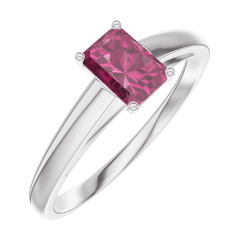 Bague Create Engagement 160804 Or blanc 9 carats - Rubis Rectangle 0.3 carat