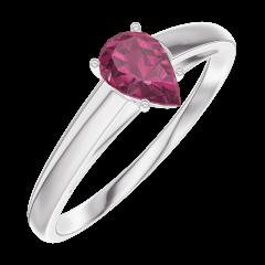 Bague Create Engagement 161004 Or blanc 9 carats - Rubis Poire 0.3 carat