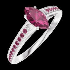 Bague Create Engagement 161112 Or blanc 9 carats - Rubis Marquise 0.3 carat - Sertissage Rubis