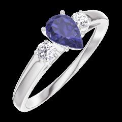 Bague Create Engagement 161624 Or blanc 9 carats - Saphir bleu Poire 0.3 carat - Pierres de côté Diamant