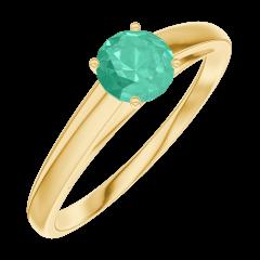 Bague Create Engagement 161802 Or jaune 9 carats - Émeraude Rond 0.3 carat