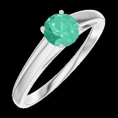Bague Create Engagement 161804 Or blanc 9 carats - Émeraude Rond 0.3 carat