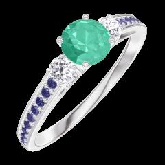 Bague Create Engagement 161836 Or blanc 9 carats - Émeraude Rond 0.3 carat - Pierres de côté Diamant - Sertissage Saphir bleu