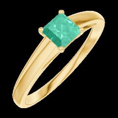Bague Create Engagement 161902 Or jaune 9 carats - Émeraude Princesse 0.3 carat