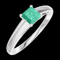 Bague Create Engagement 161904 Or blanc 9 carats - Émeraude Princesse 0.3 carat