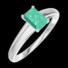 Bague Create Engagement 162004 Or blanc 9 carats - Émeraude Rectangle 0.3 carat